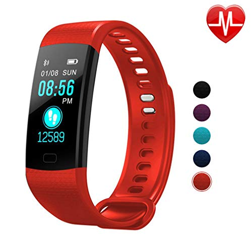 Autoday Fitness Tracker Waterproof Activity Tracker Calorie Counter,Pedometer,Heart Rate Monitor,Sleep Monitor,Reminder Replacement Strap Wristband Sports Band for iOS & Android (Red)
