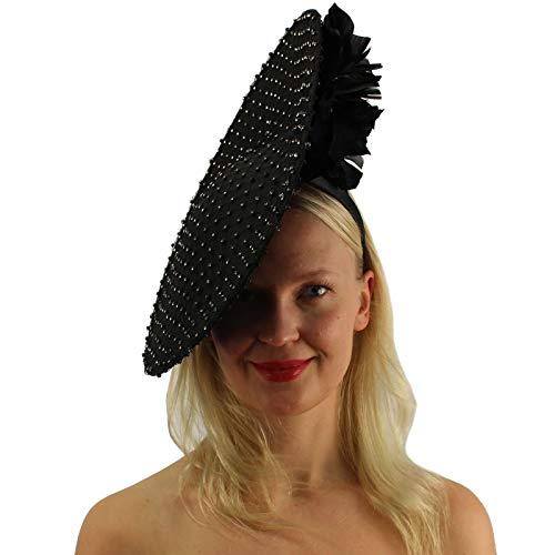 Royal Rhinestones Netting Feathers Fascinators Headband Cocktail Derby Hat Black