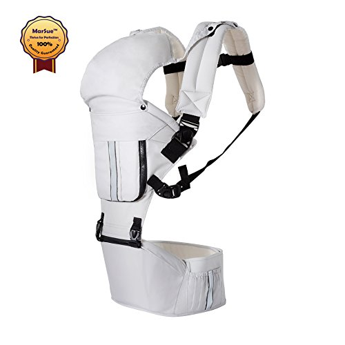 MarSue 100% Organic Cotton Ergonomic Baby Carrier Sling with Hip Seat