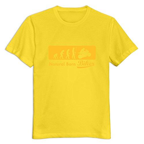 Yisw Men Evolution Biker T-Shirt XL Yellow Unique Humor T-Shirt