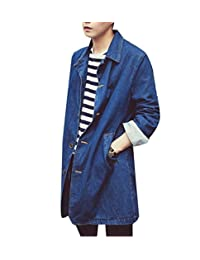 Winwinus Men Loose Vogue Slim Fitting Mid Long Pockets Denim Jacket Trench Coat