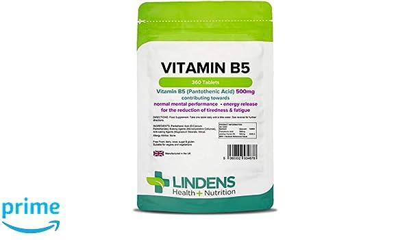 Lindens Vitamina B5 500 mg en comprimidos | 360 Paquete | Dosis del 8000 % de VRN que contribuye al rendimiento mental, al metabolismo normal y a reducir el ...