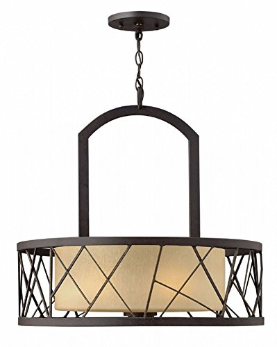 Fredrick Ramond FR41613ORB Three Light Distressed Amber Etched Glass Oil Rubbed Bronze Drum Shade Chandelier ()