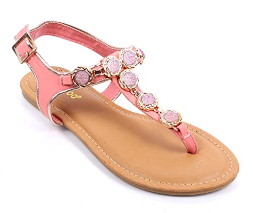 Bamboo New Fashion Blink T-strap Ladies Slingbacks Womens Sandal Shoes Ture to Size New Without Box (7.5, Melon)