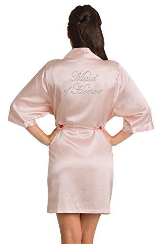 Zynotti Women's Rhinestone Maid of Honor Bridal Party Getting Ready Wedding Kimono Blush Pink Satin Robe - L/XL