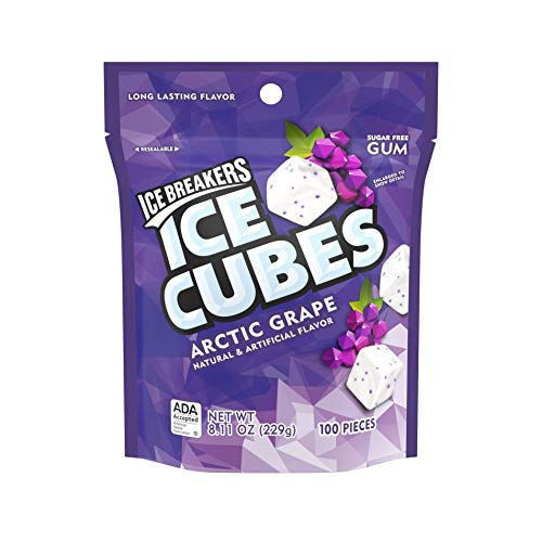 ICE BREAKERS Ice Cubes Sugar Free Gum, Arctic Grape, 100 Count