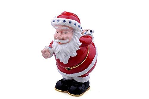 Treasures Jewelled Santa Claus enameled Trinket Box