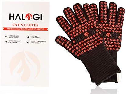 Halogi Hitzebeständige Grillhandschuhe, Ofenhandschuhe, Pizza Handschuhe, Kochhandschuhe, Handschuhe hitzebeständig bis 500 °C L/XL