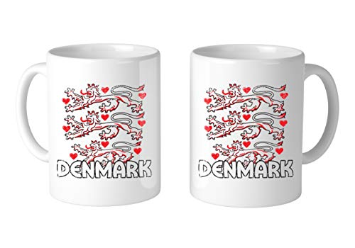 Amdesco Denmark Coat of Arms Lions Hearts 11 Oz White Coffee Mug (2 Mugs)