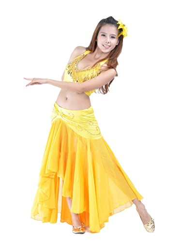 Belly Dancer Costumes Ideas (AvaCostume Belly Dance Costume Dangling Halter Top and Fishtail Skirt, Yellow, Set of 2)