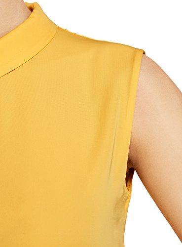 Oodji Smanicata Colletto Ultra 5200n Arancione Con Donna Camicetta qBwgrx6B
