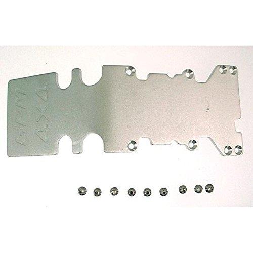 (GPM Racing TMX1331R08 Traxxas T-Maxx Silver Aluminum 3mm Rear Skid Plate)