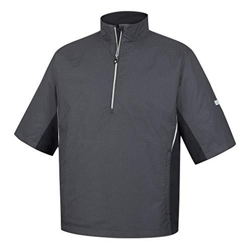 Footjoy Men's Hydrolite Short Sleeve Rain Shirt (Charcoal/Black Houndstooth, ()