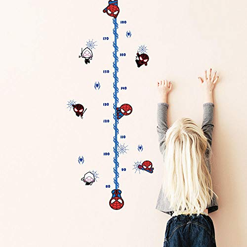 (ajhsuwn Cartoon Spiderman Height Measure Wall Sticker for Kids Rooms Children's Growth Chart Wall Decals Boy's Gift Home Decor Mural)