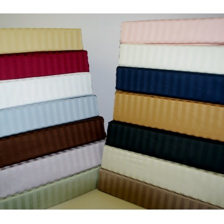 1000 Thread Count 100% Egyptian Cotton 4pc Sheet Set- Luxury Sateen Stripes (Chocolate, Queen)