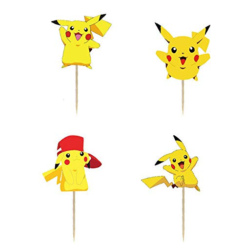 24PCS Pikachu Cupcake Toppers For Kids Birthday Party Cake Decorations