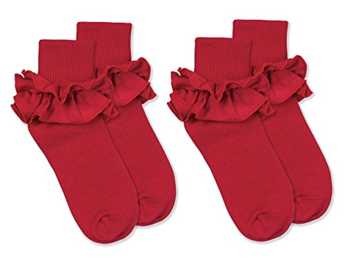 Jefferies Socks Girls Misty Ruffle Turn Cuff Socks 2 Pair Pack (XS - USA Shoe 6-11 - Age 2-4 Years, Red)