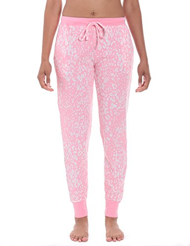 Women's Waffle Knit Jogger Lounge Pant - Leopard Pink/Grey - X-Large (Pants Lounge Leopard)