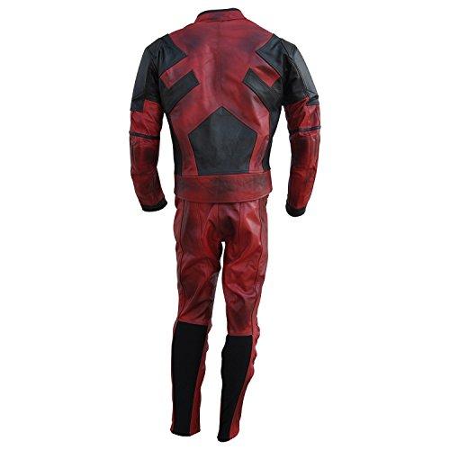 Cow In Red Deadpool Motociclista Qualità Tuta Di Da Alta Fire Pelle Vera Classyak Modello Uomo xXF7q6
