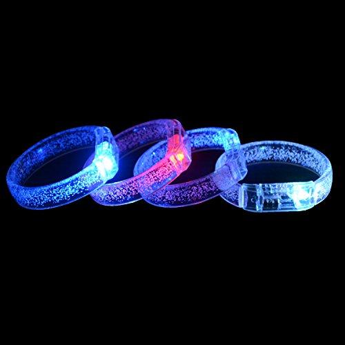 Fangqin Led Flash Bracelet 10 Pcs Fluorescence Stick Light Up Bubble Bracelets Super Safety Multicolor Luminous Wristband For Concert Wedding Birthday Party ()