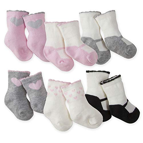 Gerber Baby Girls 6-Pack Wiggle-Proof Sock, Bunny Love, 3-6 Months