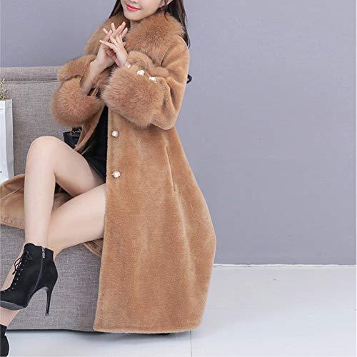 Sólido Aire Pelo Outwear Libre Color Chaqueta Parka De Piel Invierno Brown Sintética Cuello Mujer Gruesas Al Y El Viajes Añal Para Diarios Largas Abrigo BHFYBn0