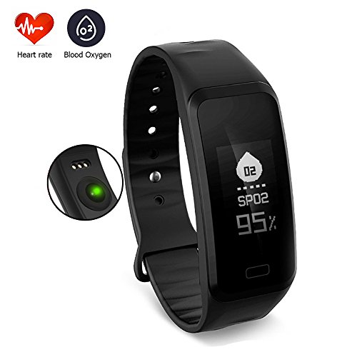 Smart Fitness Tracker Wristband, CoolFoxx R1 Bluetooth Waterproof Touch Screen Bracelet with Dynamic Static Heart Rate,Blood Pressure,Blood Oxygen,Pedometer,Sleep Monitor for IOS& Android (Black)
