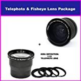 3.5X HD Professional Telephoto lens & 0.35x HD Super Wide Angle Panoramic Macro Fisheye Lens For Nikon D700, D300, D200, D100, D90, D80, D70, D60, D50, D40, D40x, D2HS, D2XS series