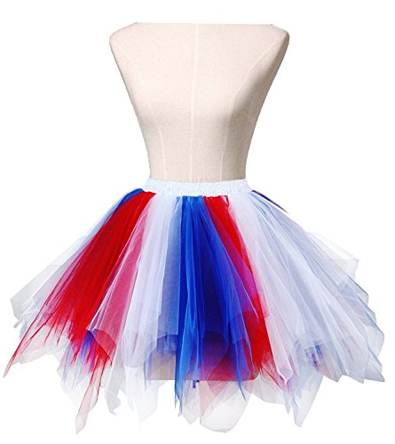 Adult Women 80's Tutu Skirt Layered Tulle Petticoat Halloween Tutu Red/White/Blue (Halloween Clothing For Adults)