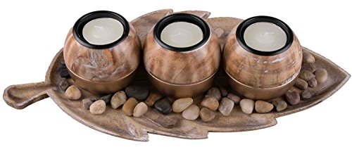 Modern Tabletop Tea Light Set   Black and Tan Theme   Contains 3 Round Tealight Holders   Pebbles Included With Leaf Shaped Tealight Tray   Beautiful Modern Design   Fits Any Standard (Leaf Tray Set)