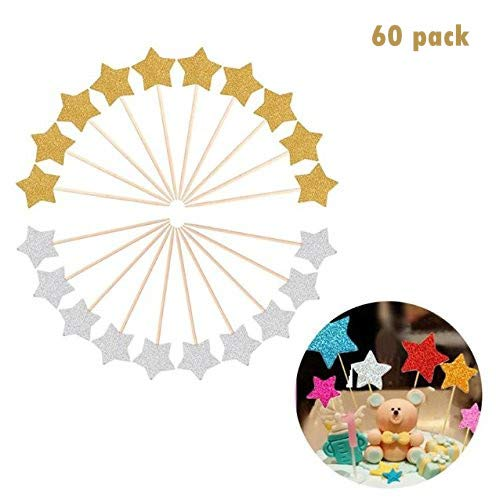 glitter star cupcake toppers party