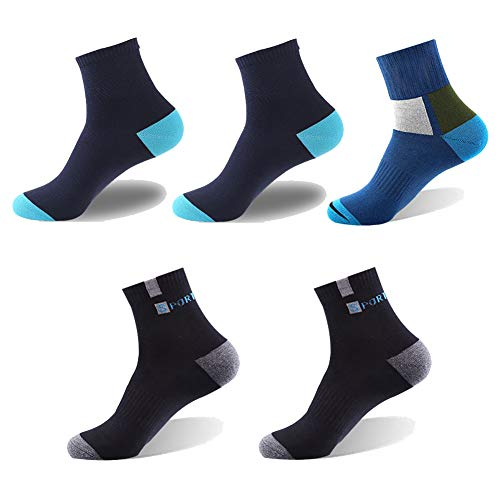 (Yacclong Men's 5 Pack 100% Cotton Deodorant Sweat-absorbent Autumn and Winter Models Thick Cotton Sports Socks (Mixed color))