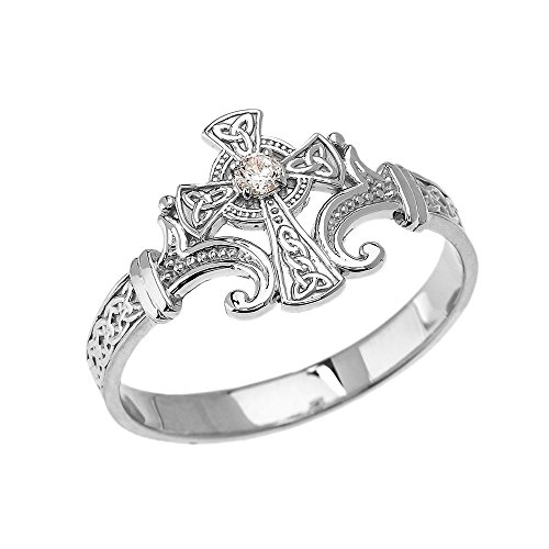 - Religious Jewelry by FDJ 10k White Gold Solitaire Cubic Zirconia Celtic Cross with Trinity Knot Design Elegant Ring(Size 7)