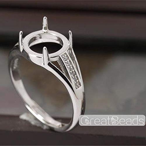 (Ring Setting for 9mm Round Cabochons White Gold Plated 925 Silver Zircon Adjustable Band Ring Blank JZ042)