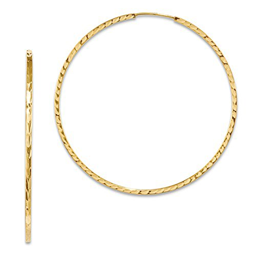 Large 14K Yellow Gold Diamond Cut Square Tube Continuous Endless Hoop Earrings, (50mm) (1.35mm Tube) (Glitter Gold 14k Yellow)
