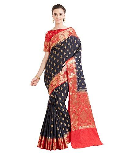 Viva N Diva Sarees for Women's Banarasi Black Colour Banarasi Art Silk Saree with Un-Stiched Blouse Piece,Free Size