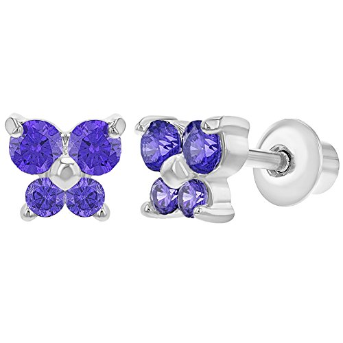 (Rhodium Plated Purple Crystal Butterfly Screw Back Baby Earrings)