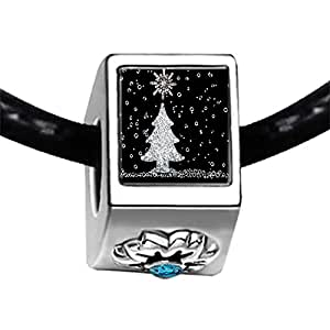 Chicforest Silver Plated christmas tree Photo Blue Zircon Crystal December Birthstone Flower Charm Beads Fits Pandora Charm Bracelet