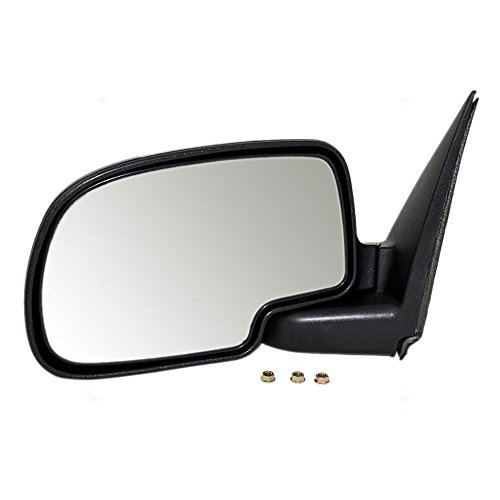 Suburban Chrome Manual Mirror (Drivers Manual Side View Mirror with Chrome Cover Replacement for Chevrolet GMC SUV Pickup Truck GM1320208)