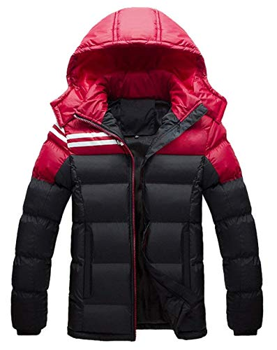 Men's Winter Down Jacket Hooded Coat Thick Long Sleeve Leisure Warm Young Fashion Outdoor Quilted Jacket Down Coat Outerwear Schwarz