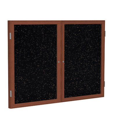 2 Door Enclosed Bulletin Board Size: 3' H x 4' W, Surface Color: Tan Speckled, Frame Finish: Cherry by Ghent