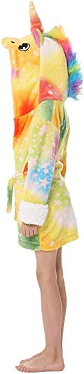 Baby Kid Little Gril Kids Hooded Animal Unicorn Bathrobe Plush Fleece Robe Halloween Cosplay Sleepwear