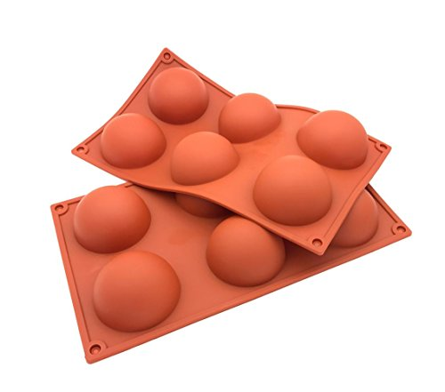 W.D 6 /15/24 Cavities Half Sphere Hemisphere Dome Chocolate Silicone Mold TrayChocolate Desserts, Ice Cream Bombes, Cakes, Soap Making Mold, Set of 2 (6-Cavity)