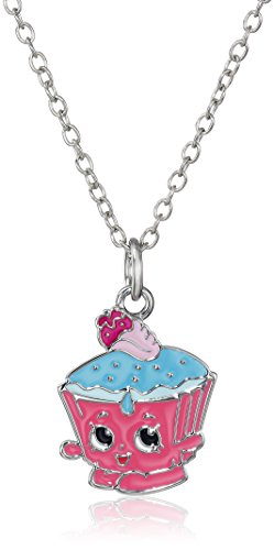 Shopkins Girls' Silver Plated Enamel Cupcake Chic on Chain Pendant Necklace, 16