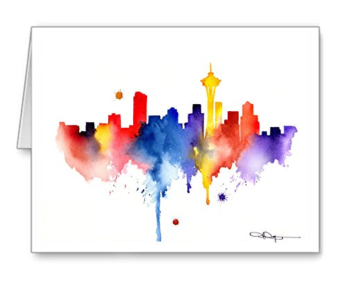 Seattle Skyline - Set of 10 Note Cards With Envelopes ()