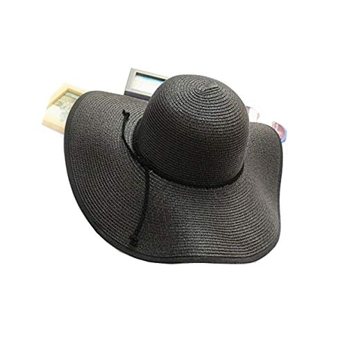 TouchandFeel Beach Wide Brim Straw Sun Hat for Women Girls Floppy Foldable Roll Brim Summer Caps (Black)]()