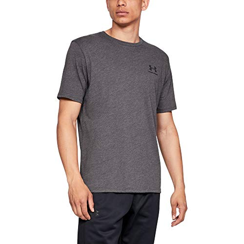 Under Armour mens Sportstyle Left Chest Short Sleeve T-Shirt, Charcoal Medium Heat (019)/Black, X-Large