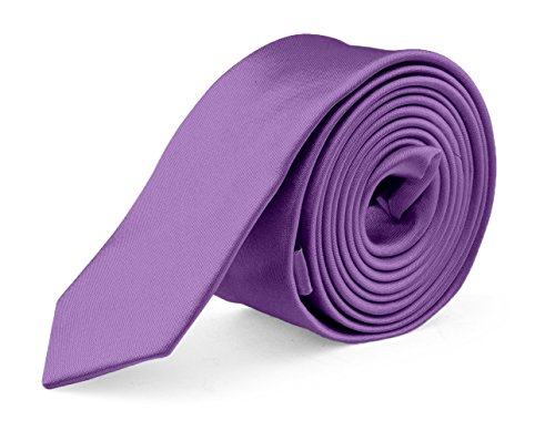 Ties For Mens Skinny Slim Silk Finish Fashion Long Necktie - Solid Color MDR - Purple