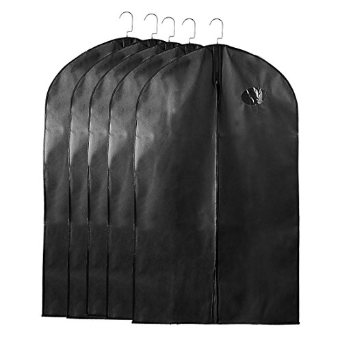uxcell Garment Bags Suit Bags for Storage, 40''x24'' Dustproof Suit Travel Bags Cover, Black Suit Cover Bags for Coats Dress, Suit Garment Bags for Men, Set of 5 (Garment 40' Bag Suit)