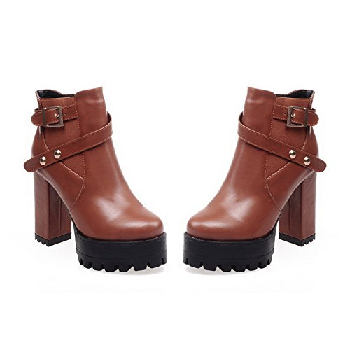 top AgooLar Closed Zipper Soft High Low Heels Toe Material Brown Round Boots Women's XwRSrqvOw